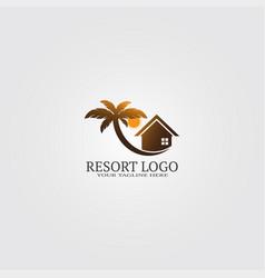 Resort logo template with coconut tree logo vector