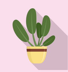 Round leaves houseplant icon flat style vector