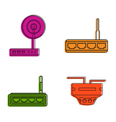 router icon set color outline style vector image