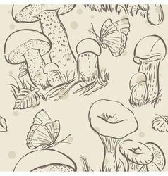 Seamless texture contour of white mushrooms autumn vector image