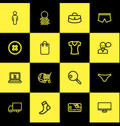 set of 16 editable trade outline icons includes vector image