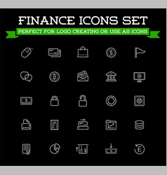 set of banking finance money icons payments vector image