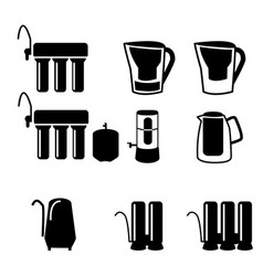 set water filter in black silhouette icon vector image