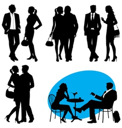 several people - silhouettes city live vector image