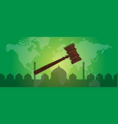 Sharia islam law justice verdict case legal gavel vector