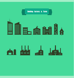 Silhouette buildingsfactory and farm with text vector