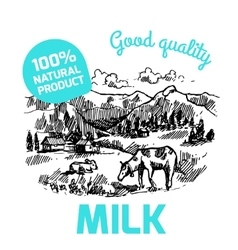 Sketch milk product vector