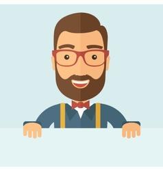Smart guy holding board vector image