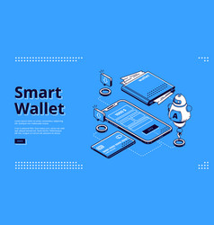 smart wallet isometric landing page web banner vector image