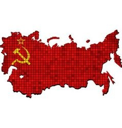Soviet Union map with flag inside vector image