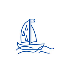 Sports yacht line icon concept sports yacht flat vector