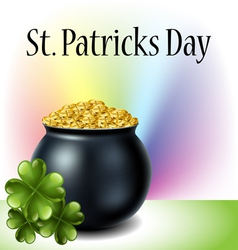 St Patricks day cauldron with clover and rainbow vector image