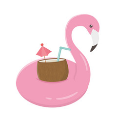 Summer travel and vacation flamingo float vector