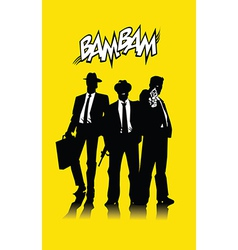 Three men in black vector