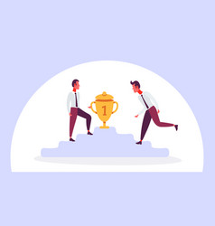 two businessmen climbing podium first place trophy vector image