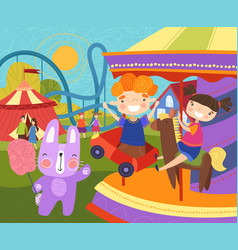 Two young children having fun at fairground vector