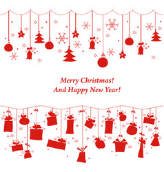 Various hanging christmas ornaments on border vector