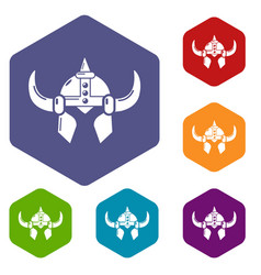 Viking helmet knight icons hexahedron vector
