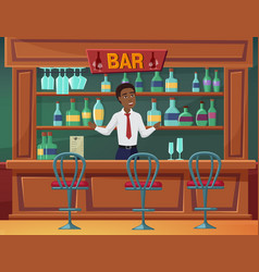 welcome to bar catering business service man vector image