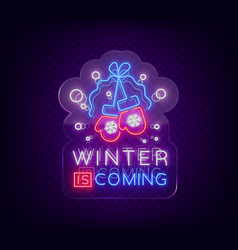 Winter is coming a neon sign on winter holidays vector