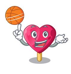 With basketball chocolate heart on ice cream vector