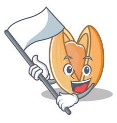 With flag pistachio nut mascot cartoon vector