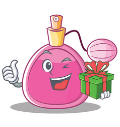 with gift perfume bottle character cartoon vector image