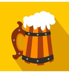Wooden mug with beer flat icon vector image