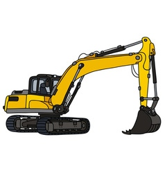 Yellow big excavator vector