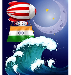 A balloon with the flag of india above the giant vector