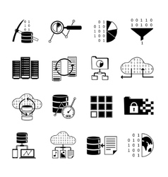 Data processing black icons vector