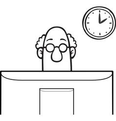 Man looking at computer screen vector image