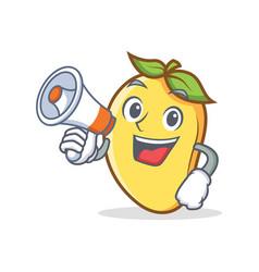 Mango character cartoon mascot with megaphone vector