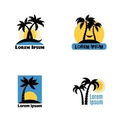 Palm tree logo set vector image vector image