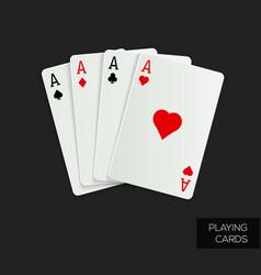 poker cards on dark background vector image vector image