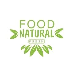 Vegan Natural Food Green Logo Design Template With vector image vector image