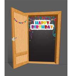 birthday Birthday surprise with open door vector image vector image