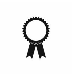 Blank award rosette with ribbon icon simple style vector image vector image