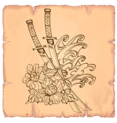 in japanese style of flower with katanas on the vector image