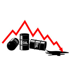 The fall in the price of oil graph and barrels vector