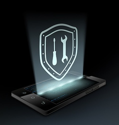 Tools icon on the smartphone screen vector image
