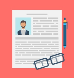 Writing a Business CV Resume Concept vector image