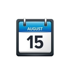 August 15 Calendar icon flat vector image vector image