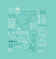 Flat linear Infographic Education Outline vector image