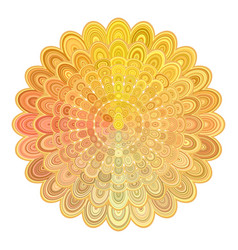 golden abstract floral mandala design - digital vector image