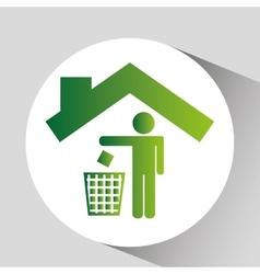 green ecology symbol trash recycle design vector image