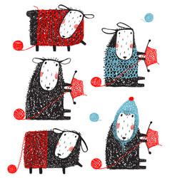 knitting crafty sheep scribble cartoon collection vector image vector image