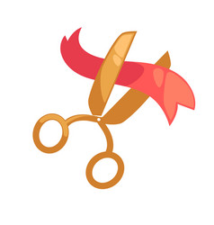 big golden scissors cuts small red ribbon isolated vector image