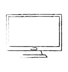 Blurred silhouette image lcd monitor desk computer vector