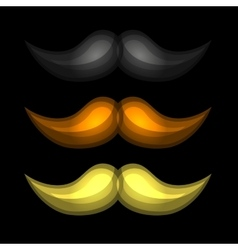 Brown Black and Yellow Isolated Glossy Mustaches vector image